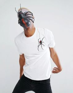 ASOS Halloween Relaxed T-Shirt With Embroidered Spider - White