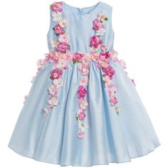 Girls beautiful, pale blue, sleeveless dress byLesy Luxury Flower. Made from a lightweight cotton matte sateen it is decorated with hydrangea flowers in different tones of pink. With a fitted bodice, it has a full gathered skirt with layers of stiff tulle lining under. Fully lined in a soft, lightweight cotton for comfort, it has a flower and ribbon belt that can be tied at the back in a bow.<br /> <ul> <li>90% cotton, 10% polyester (soft matte sateen feel)</li> <li>Lining: 65% polyest...