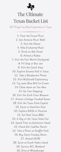 The Ultimate Texas Bucket List - 30 Things You Must Do in Texas - A Girl From TX How Texan do you think you are? How many have you crossed off the list? Check out the Ultimate Texas Bucket List to find out what Texan adventure you should do next! Texas Roadtrip, Texas Travel, Travel Usa, Travel Plane, Travel Logo, Bali Travel, Travel Goals, Travel Backpack, Texas Bucket List