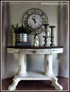 {createinspire}: Antique Pedestal Table in Linen Furniture Styles, Furniture Projects, Furniture Makeover, Diy Furniture, Unusual Furniture, Repurposed Furniture, White Painted Furniture, Chalk Paint Furniture, Pedestal Side Table