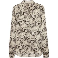 Stella McCartney Lace-print silk-satin blouse ($215) ❤ liked on Polyvore featuring tops, blouses, shirts, loose fit tops, stella mccartney, cut loose shirt, loose fitting shirts and loose blouse