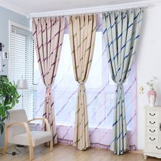 byetee Modern Striped Thick Shade Curtain Fabrics Curtain Living Room Balcony Cortinas Kitchen Blackout Curtains For Bedroom
