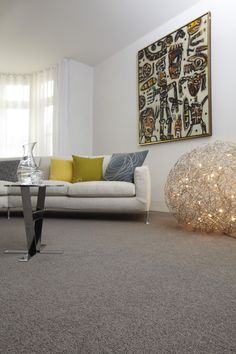 Grey wool carpet creates a good base for bright accessories in this modern living room -CArpet Brown Carpet Living Room, Living Room Grey, Rugs In Living Room, Living Room Decor, Bedroom Decor, Living Room Color Schemes, Living Room Colors, Living Room Designs, Bedroom Colors