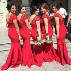 mermaid style red lace bridesmaid dresses long 2015