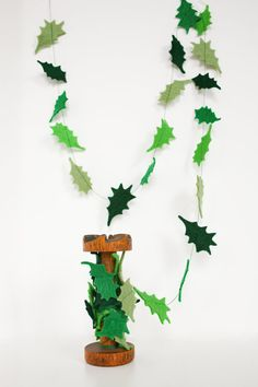 Holly Leaves Felt Garland  Christmas Decor by JaneeLookerse, $12.00