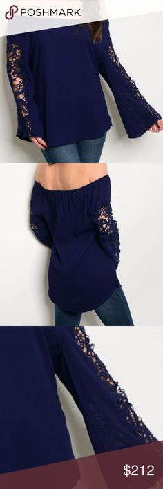 Navy Blue Off shoulder top New!! Stunning off the shoulder long sleeve navy top with lace detailed sleeves. 100% POLYESTER HVHOUSEWIFE Tops Blouses