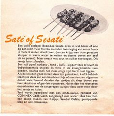 Saté of Sesaté. Uit een Conimex folder.