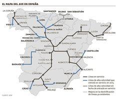 El mapa del Ave en España 2015
