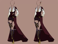 Custom fashion for . (This outfit is to be used by the commissioner only.) Design (c) Ryuu-Atrineas Art (c) Karijn-s-Basement Custom Fashion 58 Clothing Sketches, Dress Sketches, Dress Drawing, Drawing Clothes, Outfit Drawings, Drawing Style, Drawing Tips, Fashion Design Drawings, Fashion Sketches