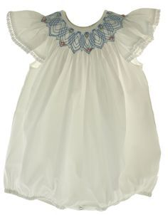 Hiccups Childrens Boutique - Girls White Smocked Bubble Outfit with Blue Smocking and Pearls, $39.00 (http://www.hiccupschildrensboutique.com/girls-white-smocked-bubble-outfit-with-blue-smocking-and-pearls/)