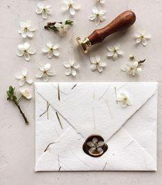 Handmade paper envelope and flower wax seal . - Koyal Wholesale Weddings - Handmade paper envelope and flower wax seal . Bespoke Wedding Invitations, Rustic Invitations, Wedding Invitation Cards, Wedding Stationery, Wedding Cards, Wedding Gifts, Cricut Wedding, Invites, Diy Wedding Envelopes