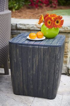 51 Outdoor Side Tables That Will Add Convenience To Your Outdoor Experience Garden Coffee Table, Side Coffee Table, Outdoor Side Table, Outdoor Coffee Tables, Modern Coffee Tables, Patio Table, Backyard Patio, Side Tables, Rustic Outdoor