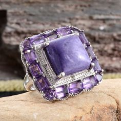 Siberian Charoite, Amethyst, and Diamond Ring in Platinum Overlay Sterling Silver (Nickel Free)