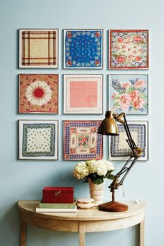 Scarves and handkerchiefs make the most lovely artworks when custom framed! Hung together in a square grouping like this, they really work! Whether they're family heirlooms or thrift store finds, thanks to custom framing, they'll be fine art in no time.