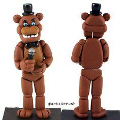 Freddy Fazbear Polymer Clay Figurine from Five by ArtzieRush