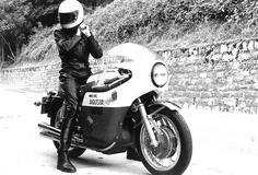 Anke-Eve Goldmann on her first MV Agusta, a 1973 750 with Agostini fairing