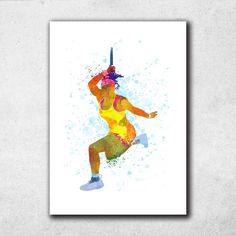 Serena Williams Poster, Tennis Gifts, Watercolor Print, Sports Decor, Tennis Wall Art, Home Decor (N033) by PointDot on Etsy