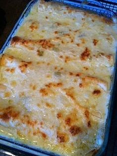 White Chicken Enchiladas-this recipe is HOT on pin