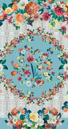 Estampa Cesta de Flores Azul Antix