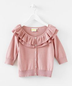 Take a look at this Pink Ruffle Cardigan - Infant & Girls by Blow-Out on #zulily today! #fall