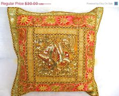 SALE Gold Sequined and Embroidered Sari Pillow by TheHomeCorner, $24.00