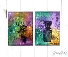 """My mixed media ATCs """"Magic""""... Welcome to my blog!      Today I would like to show you my latest mixed media ATC sets which I created in my favourite colours violet ..."""