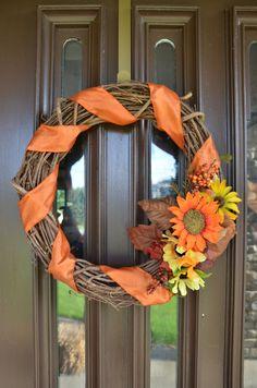 Orange and yellow fall grapevine wreath. Orange by WarmWelcomeHome, $35.00