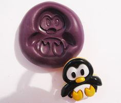 Penguin Flexible Silicone Push Mold mould Polymer clay Resin Miniature Food
