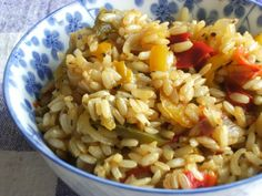 Brown Rice & Peppers Pilaf I love rice pilaf and I was excited to find this recipe for brown rice pilaf since brown rice is so much better for you. It is from Healthy Cooking. Brown Rice Cooking, Brown Rice Recipes, Healthy Cooking, Healthy Eating, Cooking Recipes, Healthy Recipes, Cooking Games, Cooking Classes, Cooking Beets