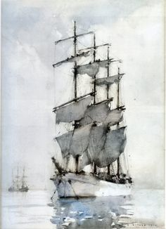 """ Four Masted Barque, 1914 Henry Scott Tuke - English visual artist. Watercolor Landscape, Watercolor Paintings, Watercolours, Moby Dick, Nautical Art, Tall Ships, Mail Art, Sailing Ships, Painting & Drawing"