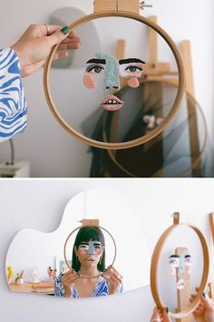 Faces Embroidered on Tulle Become an Unconventional Mask at the Right Angles - - Elena thinks of embroidery as a mask. Her face embroidery on tulle gives the illusion of new features when the hoop is held at certain angles. Embroidery Flowers Pattern, Simple Embroidery, Modern Embroidery, Embroidery Hoop Art, Hand Embroidery Designs, Vintage Embroidery, Diy Fashion Embroidery, Crewel Embroidery, Diy Broderie