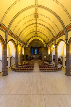 Inverleith St Serf's Parish Church featuring new porcelain wood effect floor tiles from Solus Ceramics. The old timber boards were replaced to coincide with the addition of a new underfloor heating system.