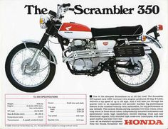 Of all of the big four Japanese motorcycle manufacturers, it is perhaps Honda that is the most closely associated with the scrambler genre - they were building scramblers from the mid-to-late with much success in Japan, North America and Europe. Honda Scrambler, Cafe Racer Honda, Cb350 Cafe Racer, Motos Honda, Honda Bikes, Scrambler Motorcycle, Yamaha, Honda Cb, Honda Motorbikes
