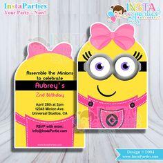 Minion girl invitations minions invitation Pink Bow birthday party Printable digital girly bow