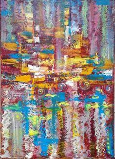 """Saatchi Art Artist Asia Dzhibirowa; Painting, """"''Bleu,red and yellow 2''"""" #art"""