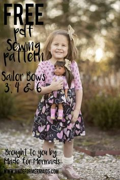 Sydney Sailor Bows ⋆ Made for Mermaids Patterns For Pirates, Sewing Patterns For Kids, Dress Sewing Patterns, Sewing For Kids, Baby Sewing, Free Sewing, Sewing Ideas, Sewing Projects, Made For Mermaids