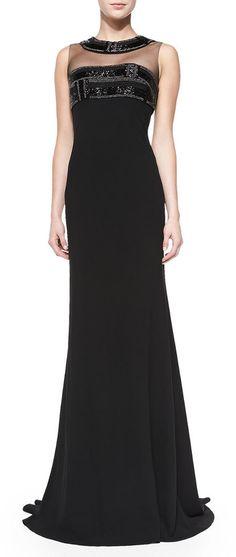 Carmen Marc Valvo Crmen Mc Vlvo Sleeveless Illusion-Neck Gown on shopstyle.com