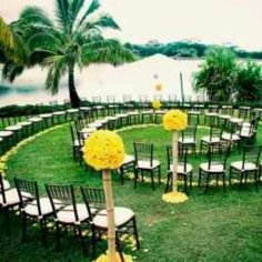 Out door wedding! Cool idea allowing all guests to see you evenly