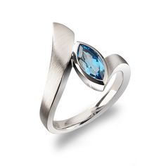 Brilliant Blue Topaz Contemporary Bypass Ring.