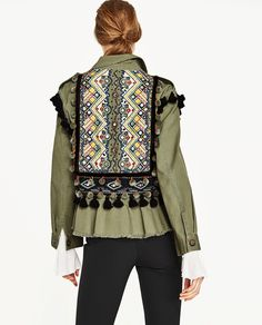 Image 4 of PARKA WITH EMBROIDERY AND POMPOMS from Zara