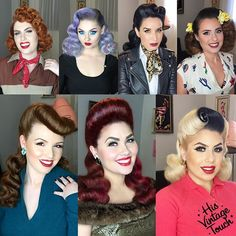 """Tony Medina- Hairstylist on Instagram: """"Recently I've been trying to showcase other vintage styles that I ADORE! I know """"overly sculpted hair"""" isn't for everyone and that's okay! I can give you some loose, up to date hair, if that's what the client wants... But personally, I love a gorgeous and detailed vintage style! ❤️ I can't wait to update my Instagram with more and more fun vintage looks! I really do enjoy them! ❤️❤️❤️ Hair By #HisVintageTouch  #vintagehair #pinuphair #retro #50shair…"""