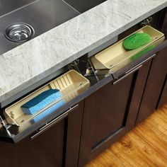 Sink Front Tip Out Tray, 25 Kitchen Organization Ideas via A Blissful Nest