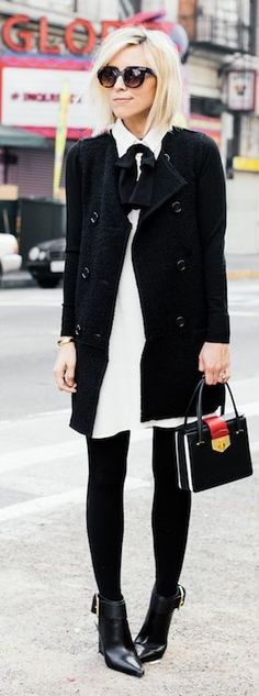 Black And White Urban Chic Winter Outfit                                                                             Source