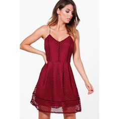 Boohoo Caitlin Strappy Mesh Pattern Dress (€11) ❤ liked on Polyvore featuring dresses, red party dresses, maxi dresses, red bodycon dress, bodycon midi dress and bodycon dress