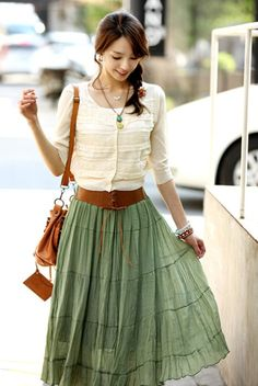 Wholesale Sweet & Beautiful Tieback Pure Color Wrinkle Skirt----Green top dresses