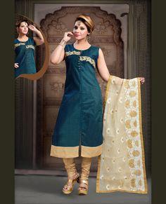 Women s Clothing - Party Wear Readymade Blue Art Silk Salwar Suit - 78353 - PRODUCT Details : Style : Readymade Salwar Suit, Straight Cut, Churidar Suit&nb Indian Salwar Suit, Churidar Suits, Pakistani Suits, Salwar Kameez, Bollywood Suits, Designer Salwar Suits, Indian Ethnic Wear, Designer Wear, Party Wear