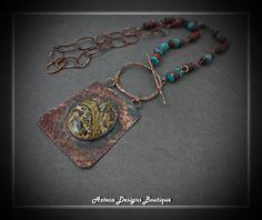 Found~ Leopardskin Jasper Rustic Copper Artisan Necklace by AztecaDesignsBoutique, $158.00 USD