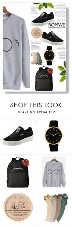 """ROMWE"" by mikica-kiki ❤ liked on Polyvore featuring Puma, Betsey Johnson, Rimmel and Gucci"