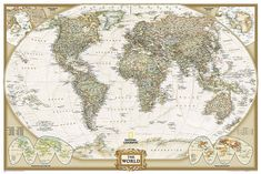 size: Wall Mural - Large: World Political Map, Executive Style by National Geographic Maps : Cool World Map, World Map Poster, World Map Wall Art, Wall Maps, Map Posters, Mural Wall, Rene Magritte, Peter Paul Rubens, Paul Gauguin
