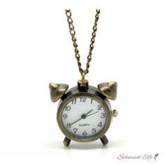 Kette mit WECKER  Uhr  im weißen Organza Beutel